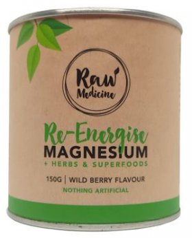RAW MEDICINE RE-ENERGISE MAGNESIUM + HERBS + SUPERFOODS POWDER