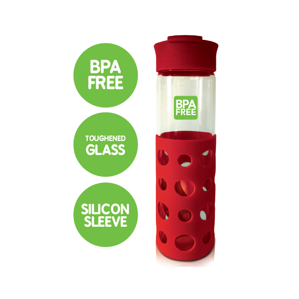 CARA GLASS BOTTLE - RED